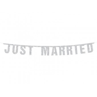 """Napis """"Just Married"""" siva"""